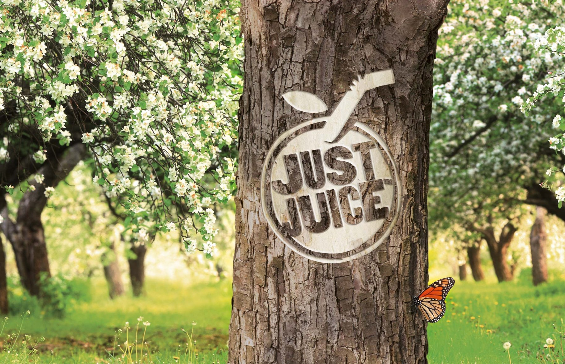 Just Juice logo carved tree
