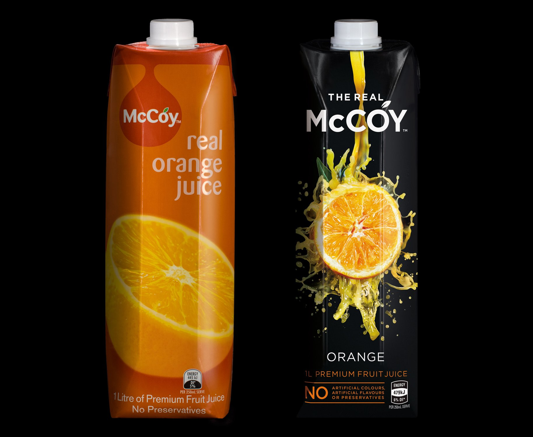 McCoy 1L tetra juice packaging before and after