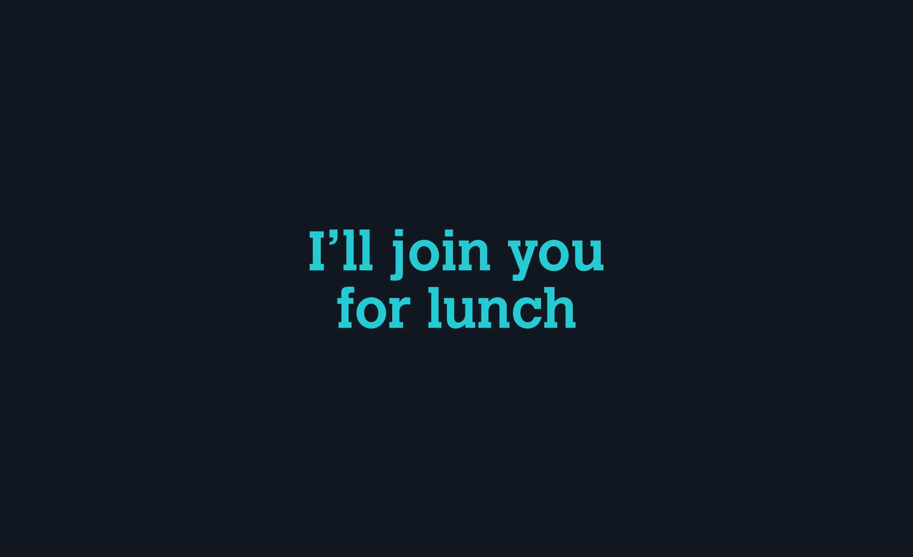 Click Clack 'I'll join you for lunch' Typography