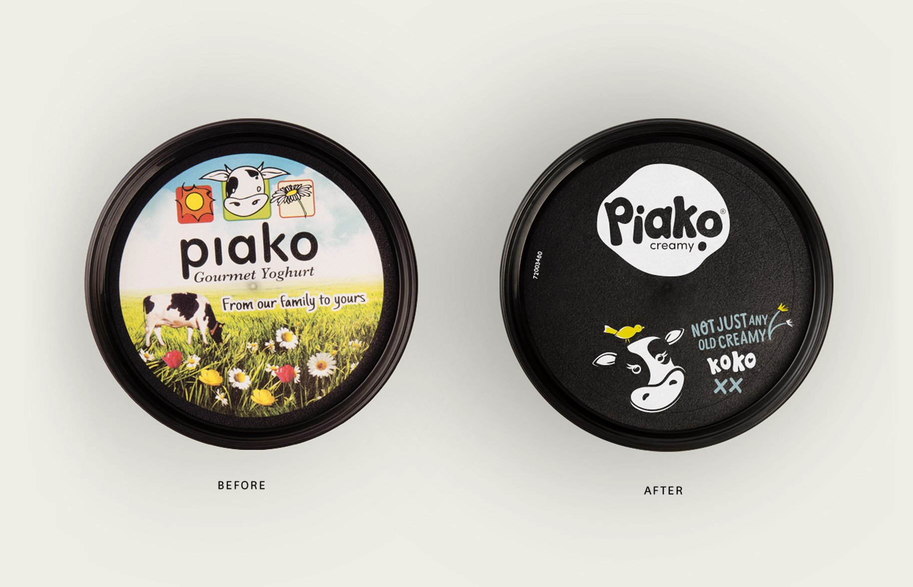 Piako Creamy yoghurt packaging before and after lid