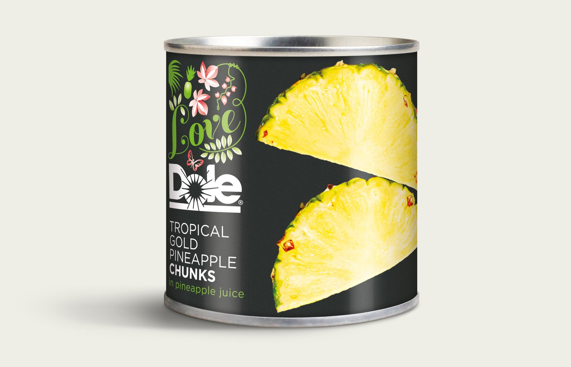 Dole Tinned Pineapple chunks Packaging Design