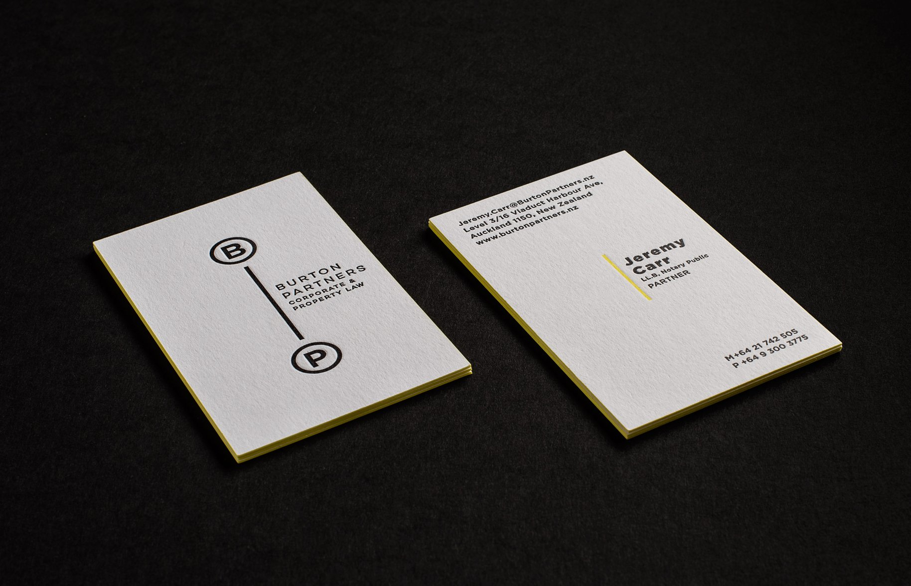 Burton Partners embossed duplex bonded business cards