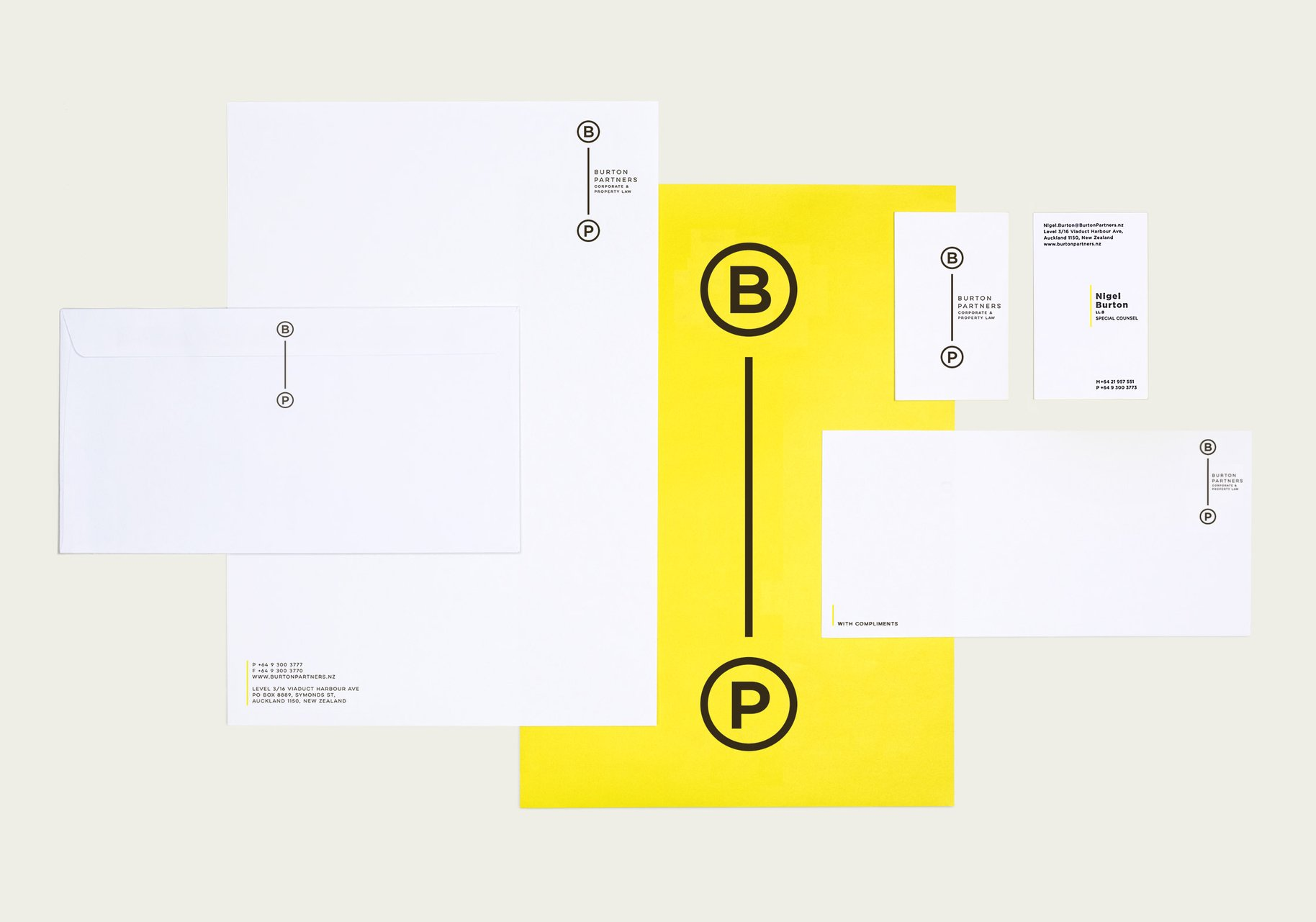 Burton Partners brand collateral business card envelope