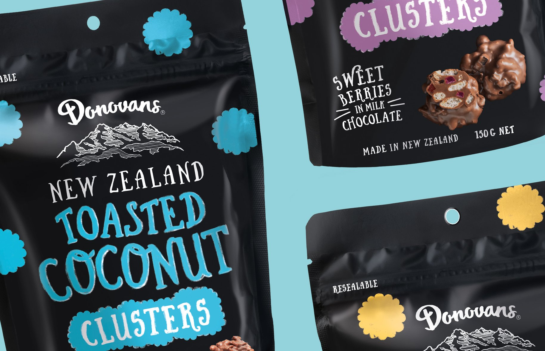 Donovans Chocolate clusters packaging