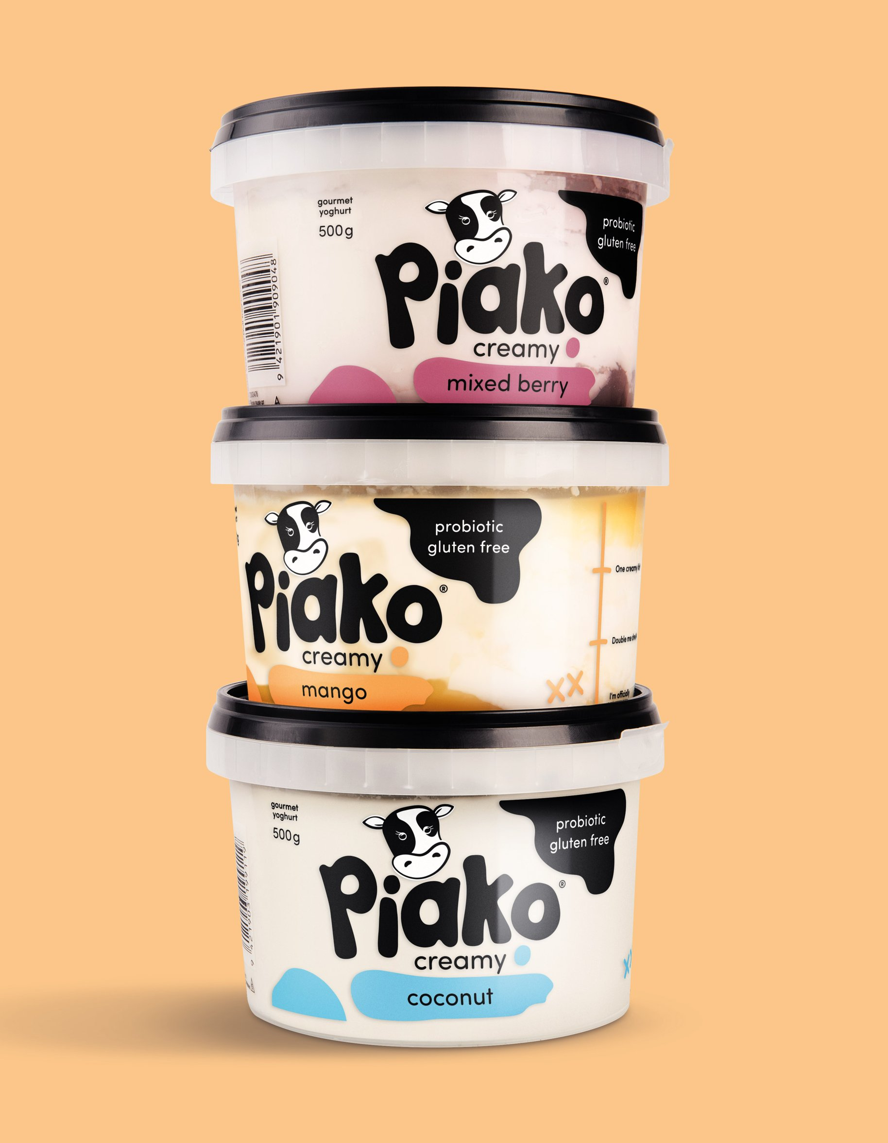 Piako Creamy yoghurt packaging coconut mango mixed berry