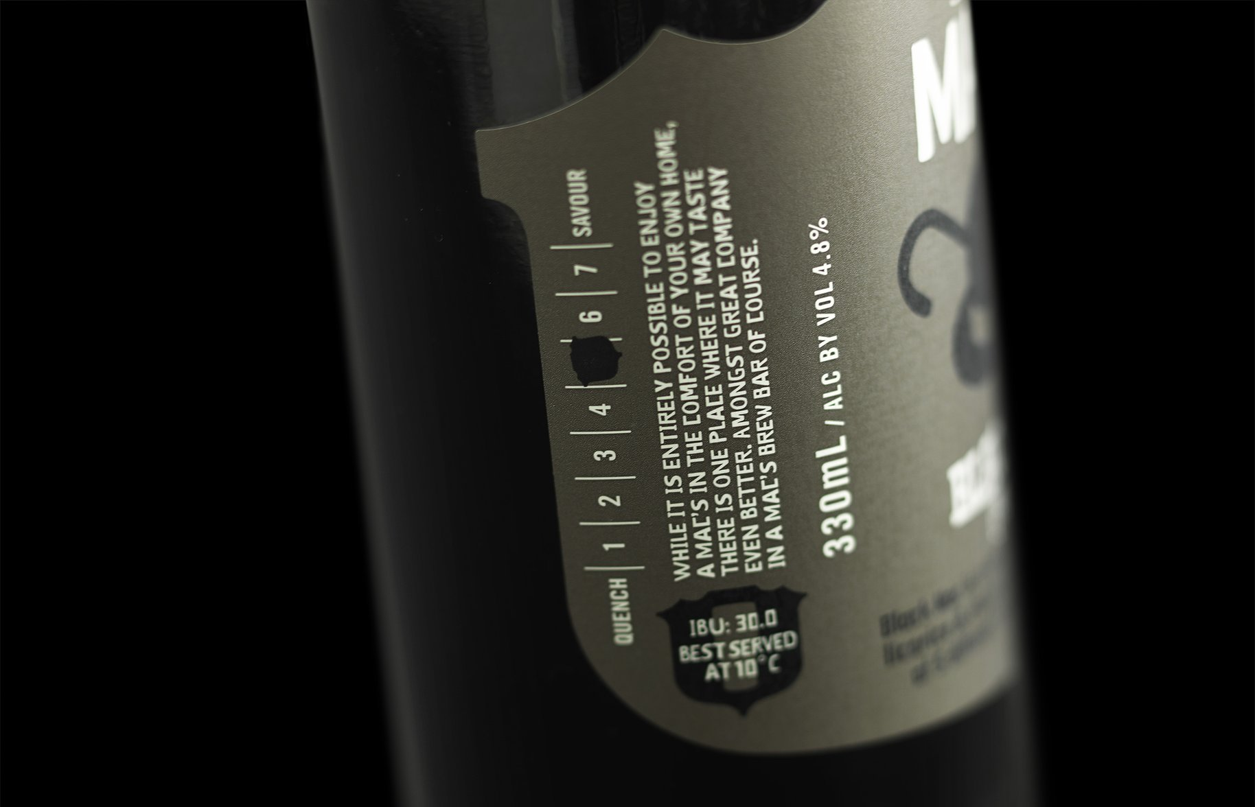 Macs Beer bottle details thirst scale packaging