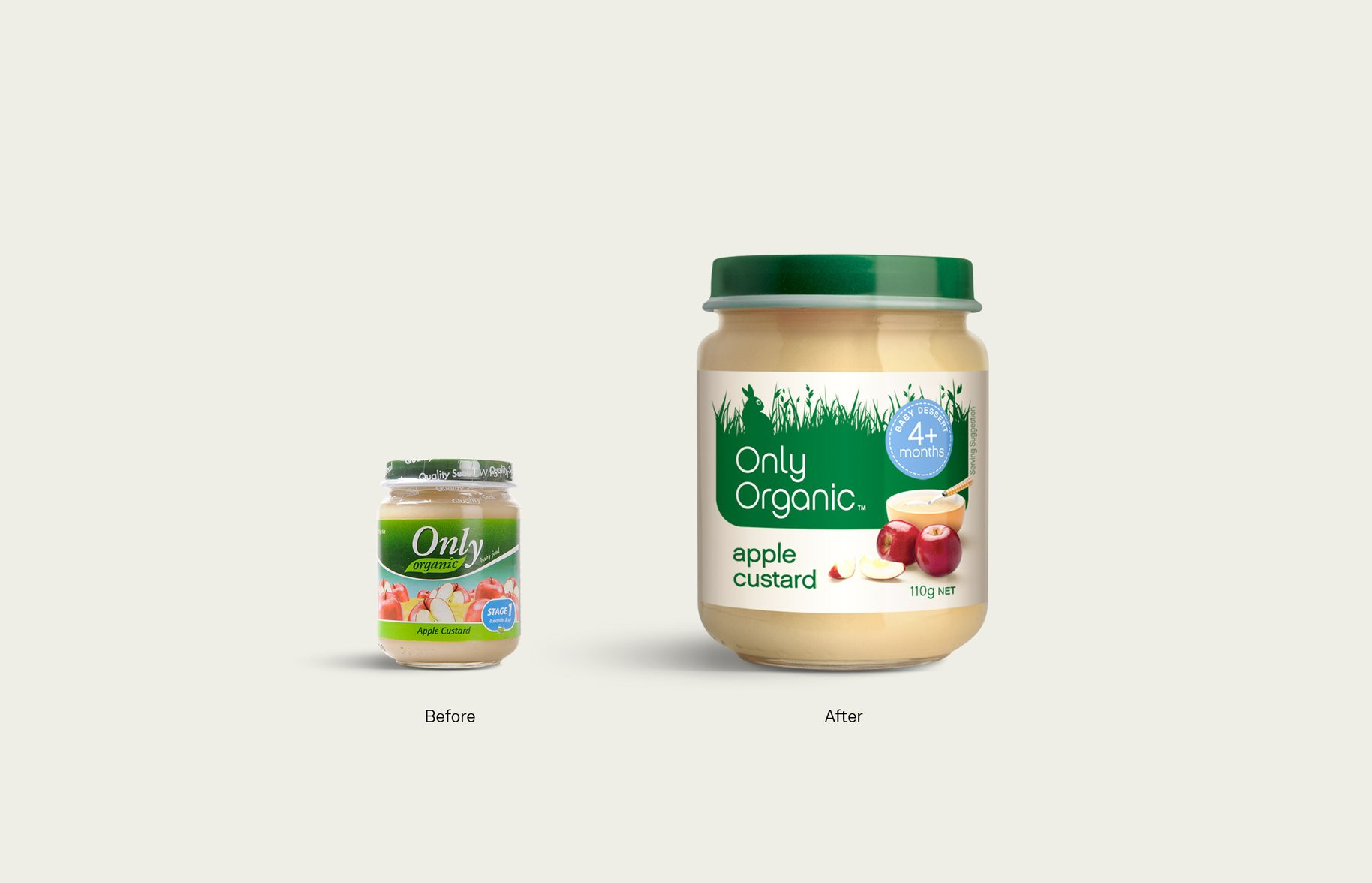 Only Organic baby food jar packaging before and after