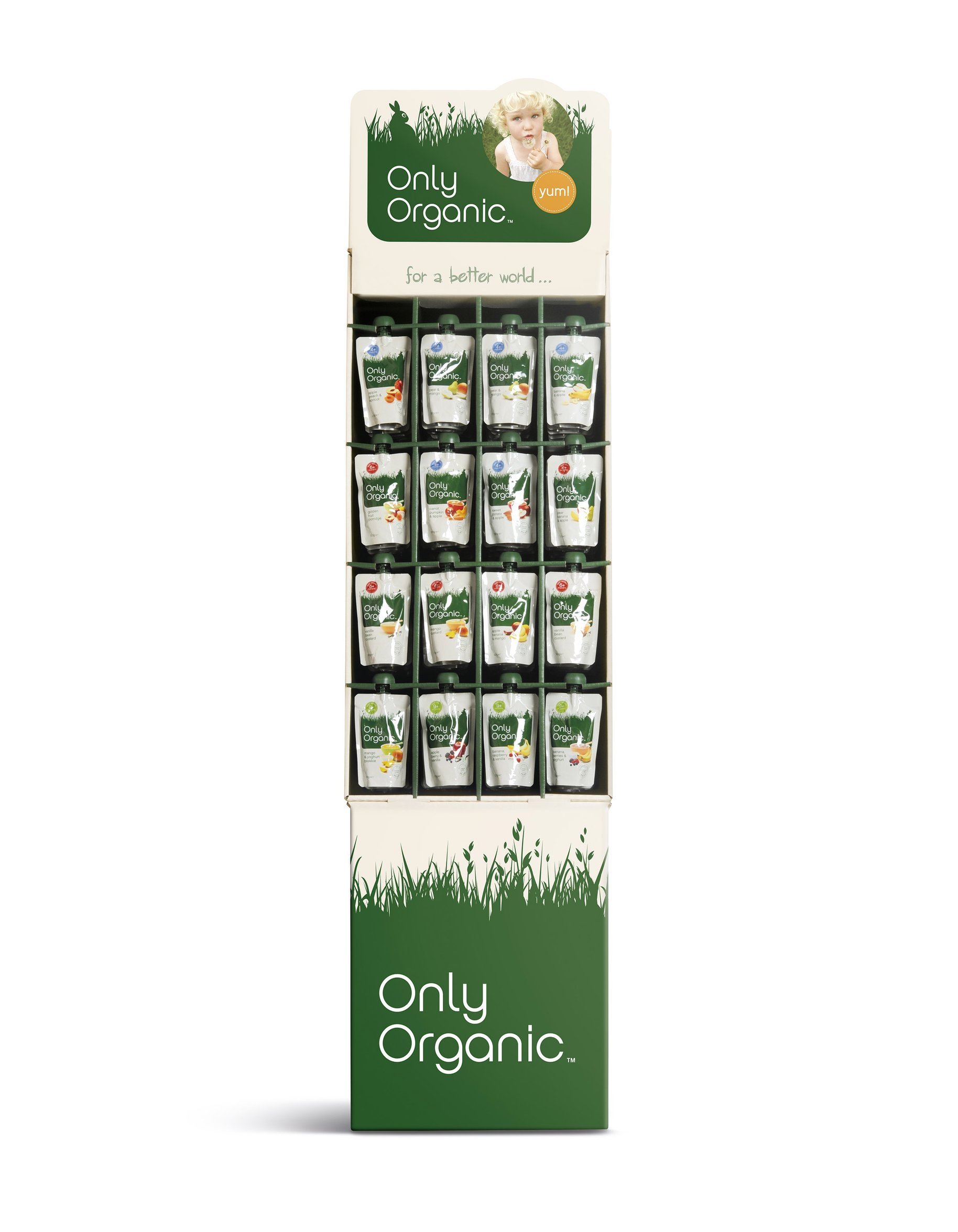 Only Organic pouch packaging display stand