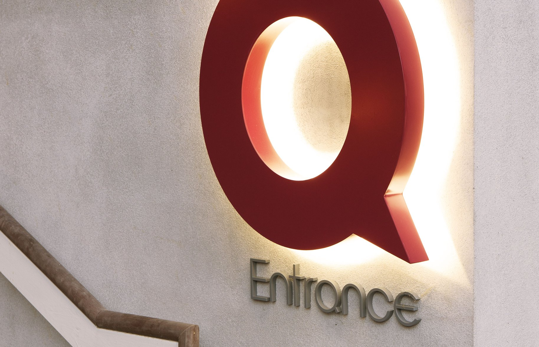 Q Theatre spatial design entrance sign