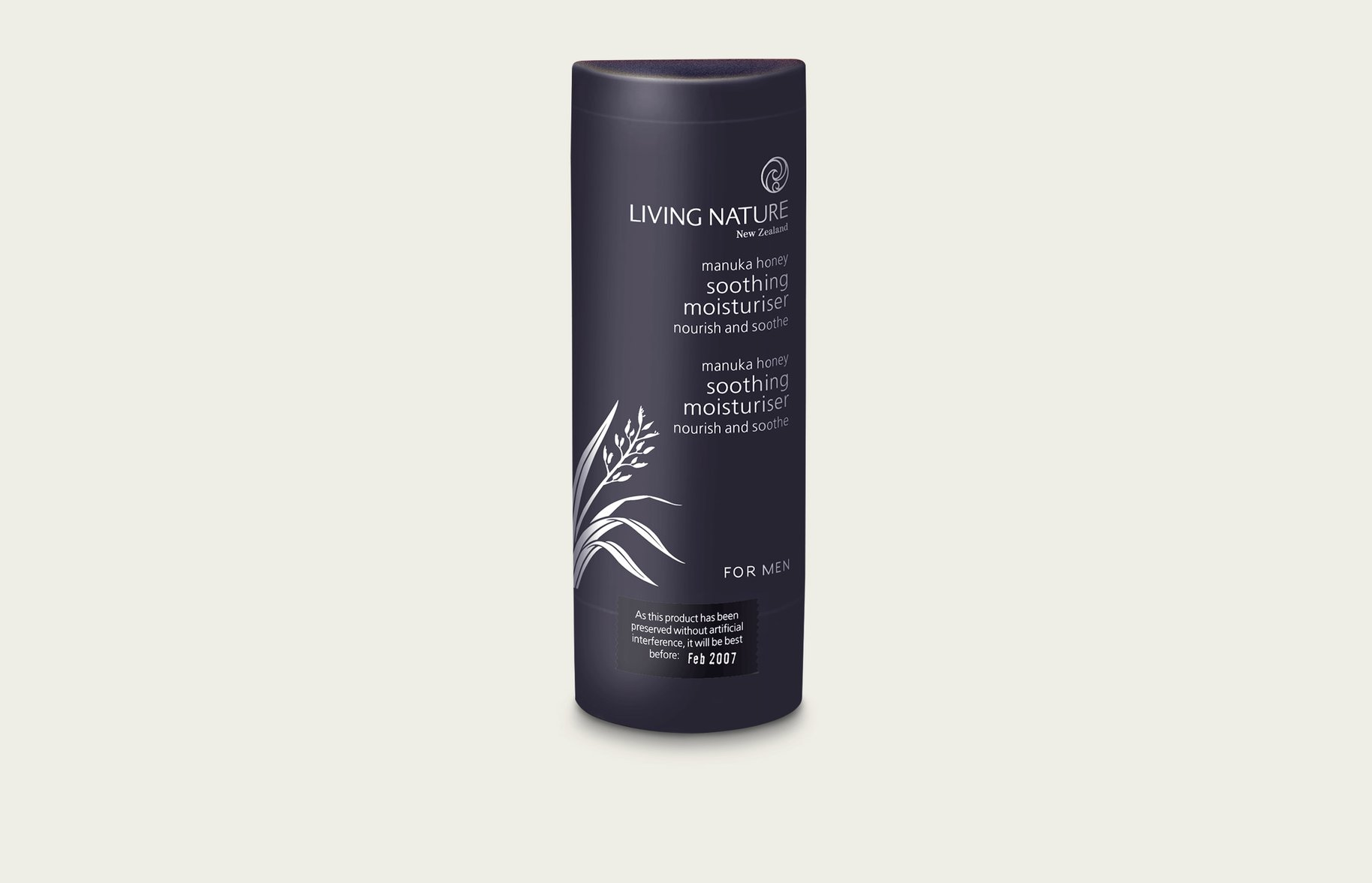 Living Nature soothing moisturiser for men packaging