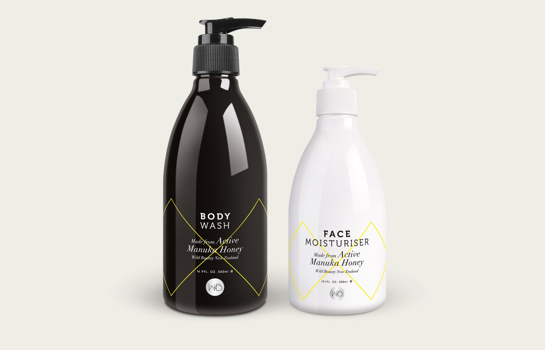 Wild Bounty body wash and face moisturiser packaging