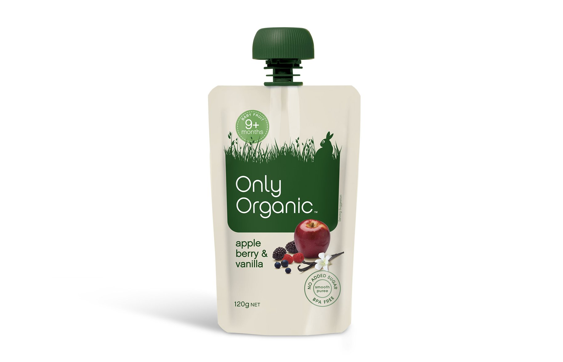 Only Organic apple berry and vanilla baby food packaging