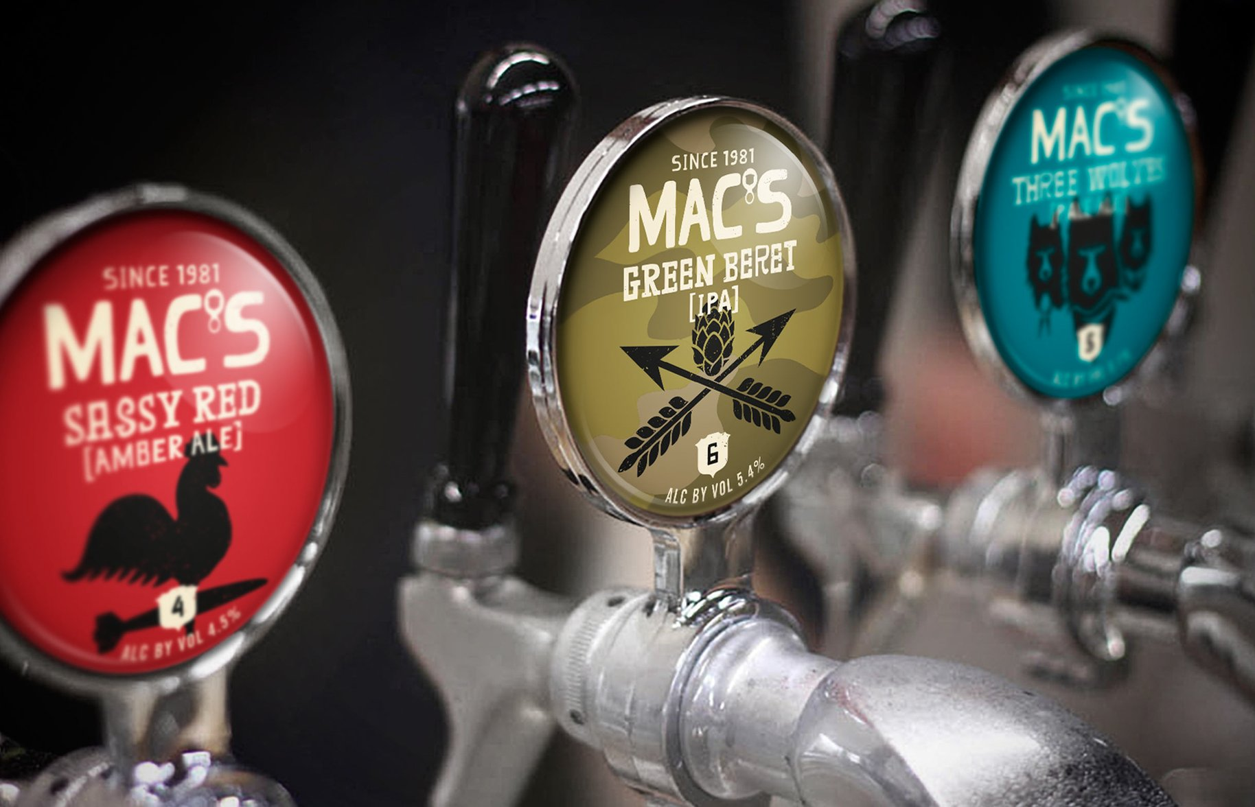 Macs Beer taps photography