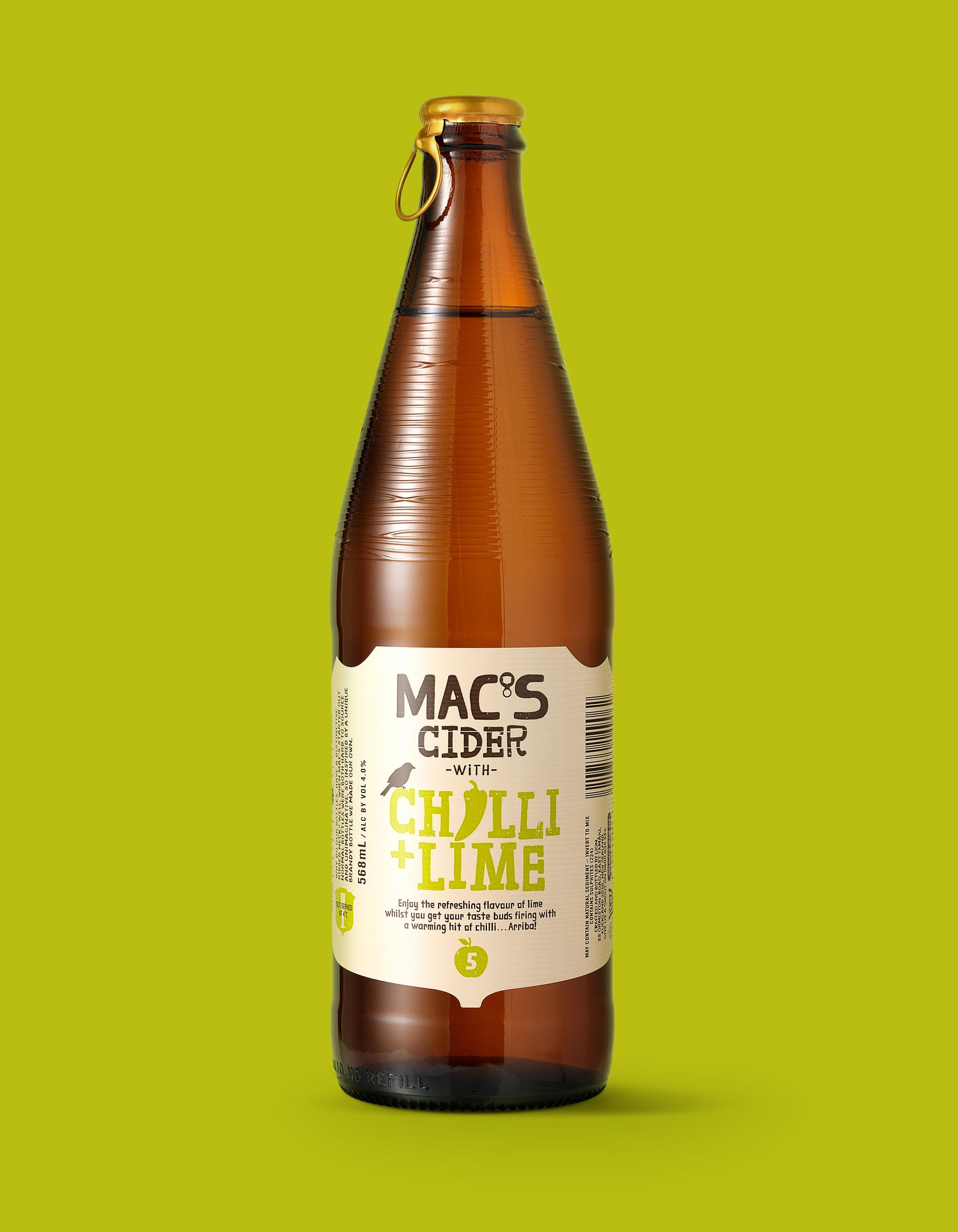Macs Beer chilli and lime cider packaging
