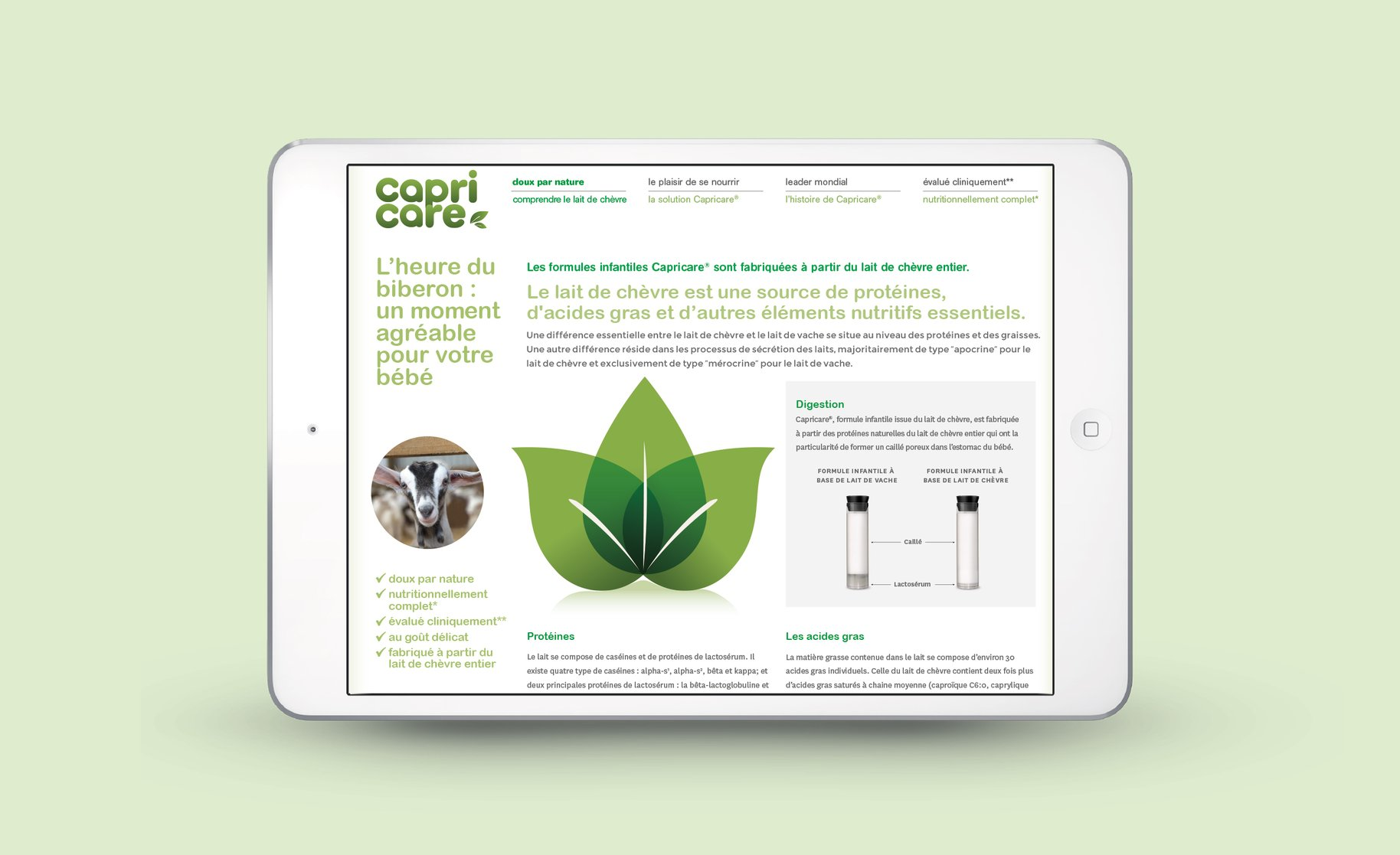 Capricare website on iPad science page