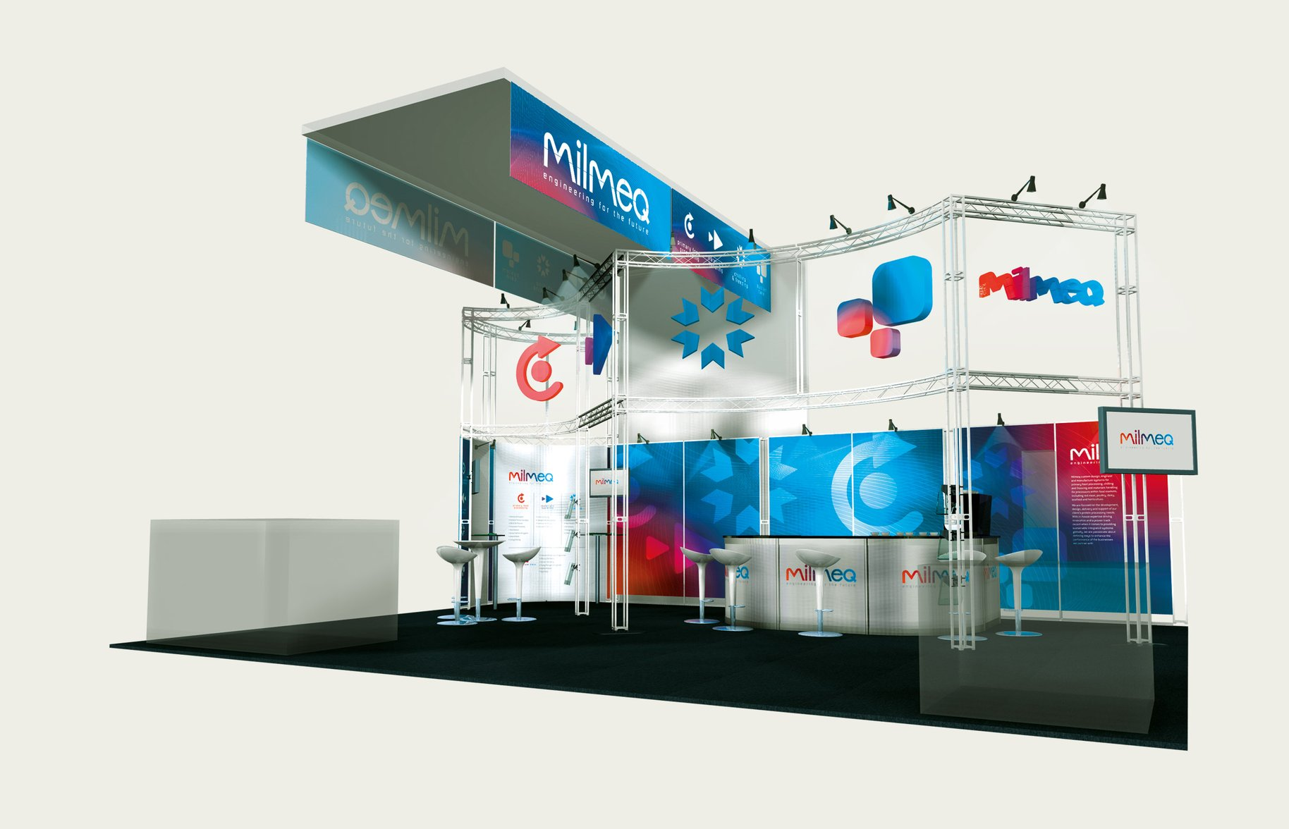 Milmeq Brand Identity trade show booth display