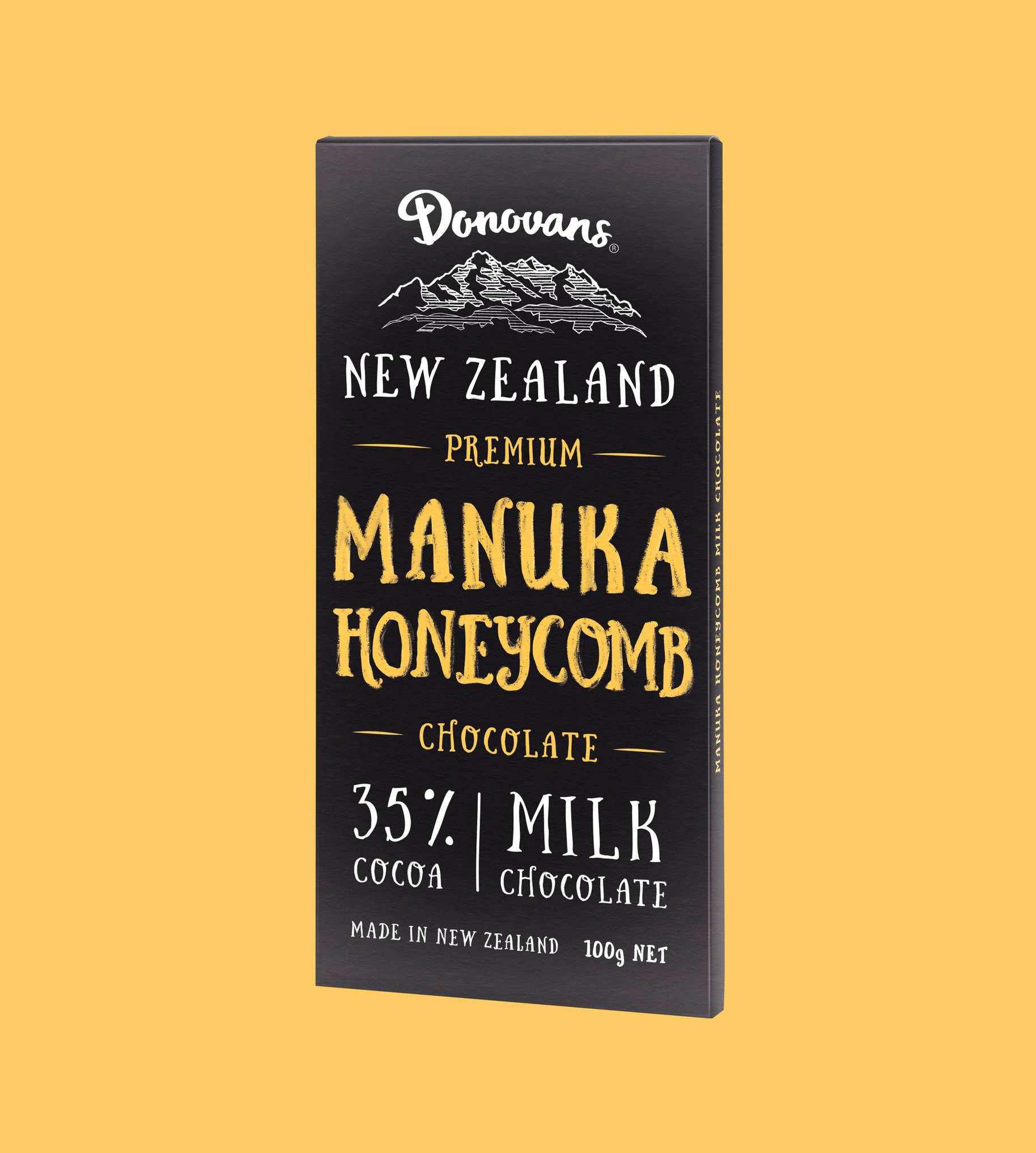Donovans Chocolate Manuka Honeycomb block packaging