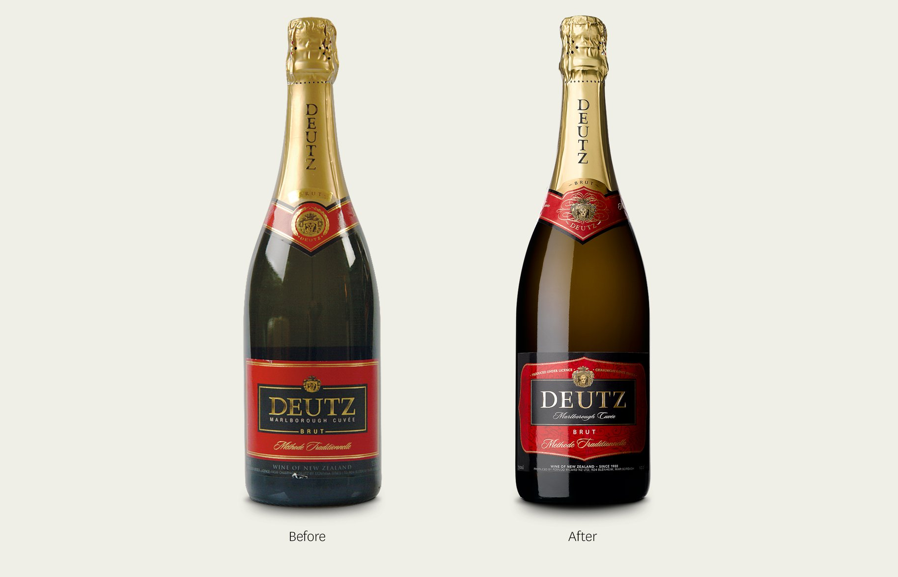 Deutz bottle packaging before and after