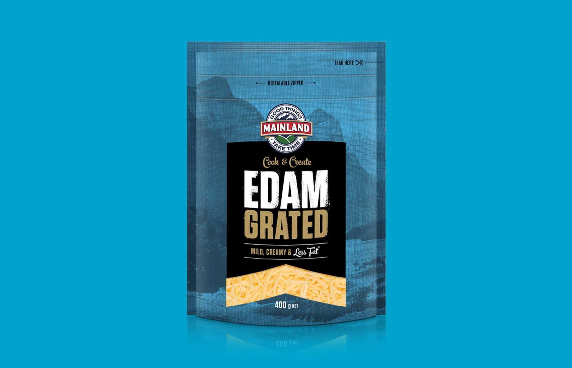 Mainland Edam Grated Packaging