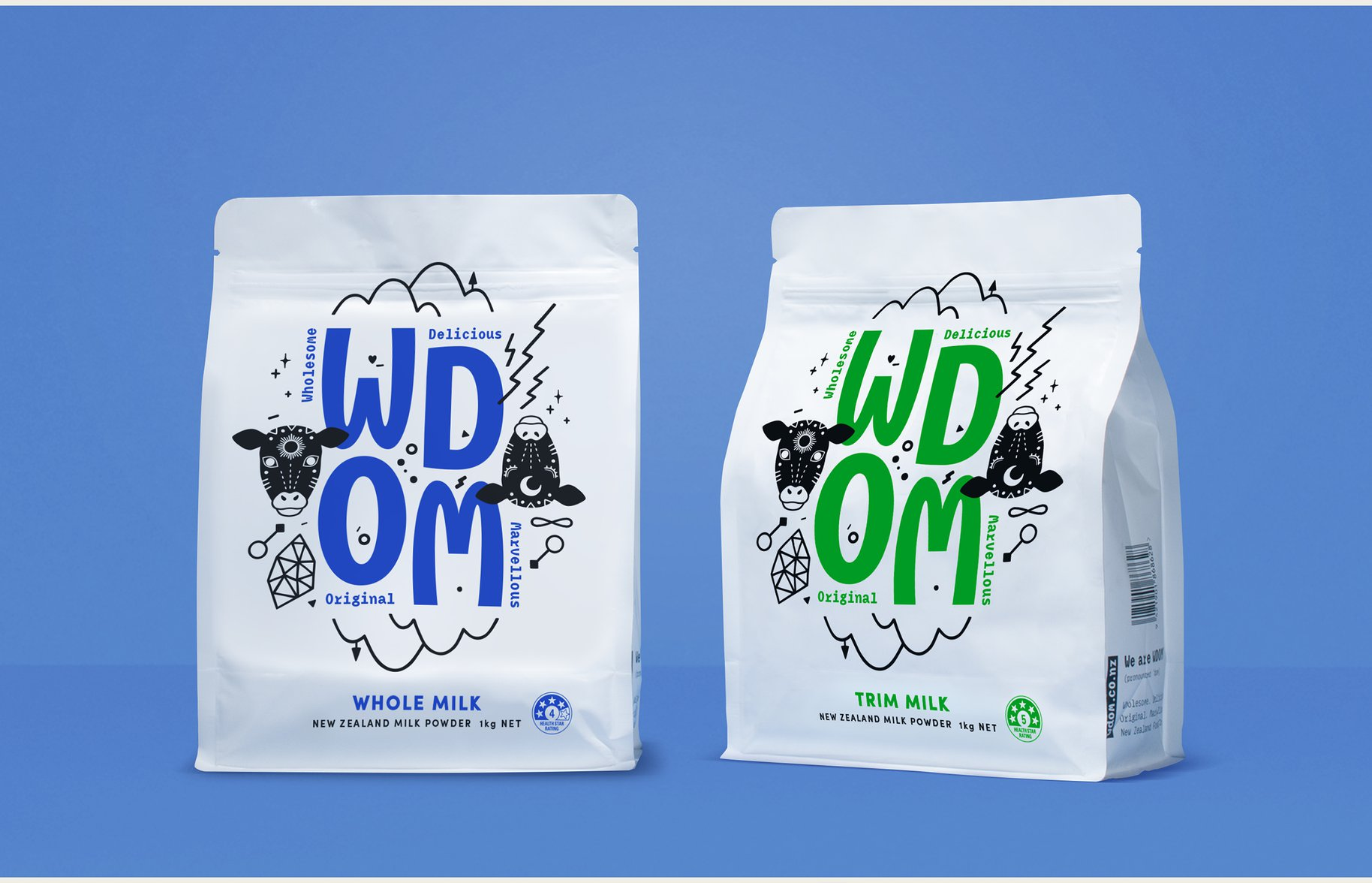 WDOM UHT milk packet packaging