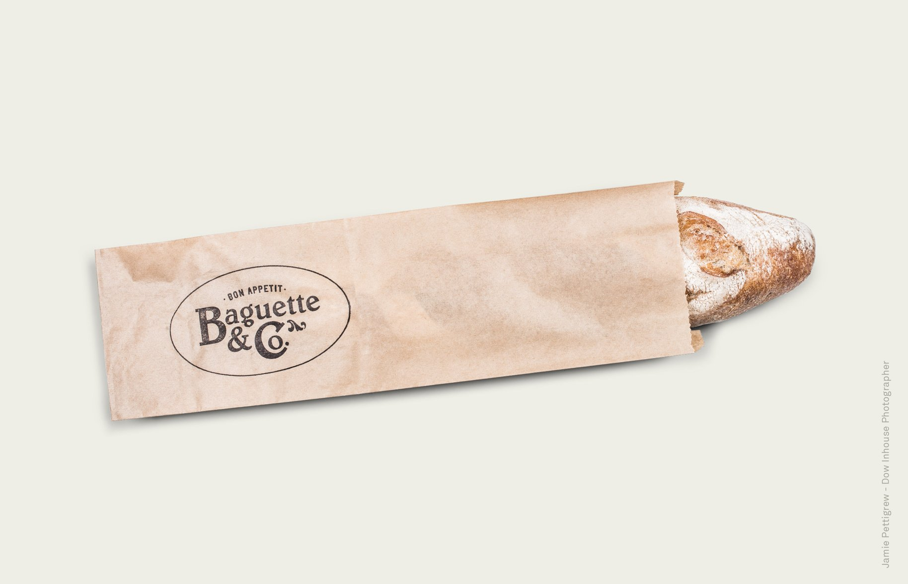 Baguette & Co logo on paper baguette bag