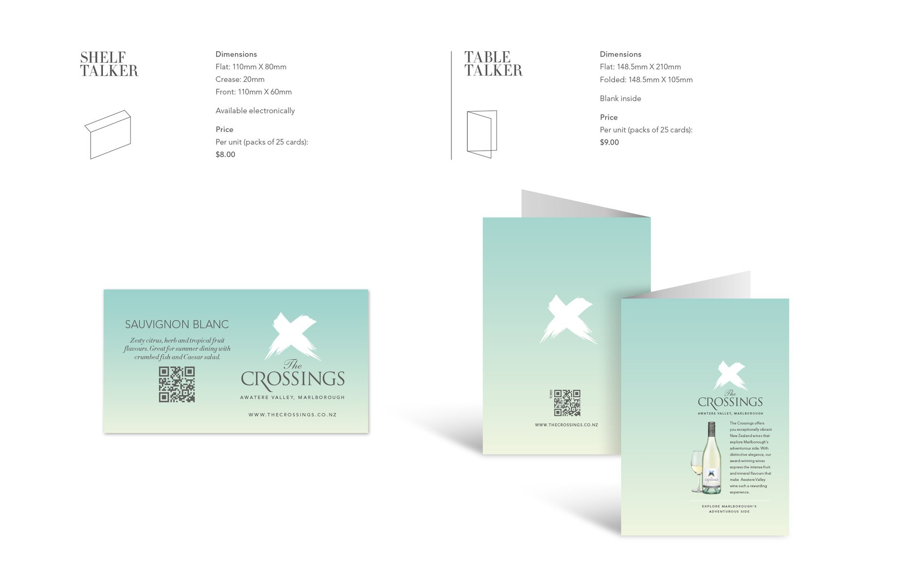 The Crossings shelf and table talkers Design