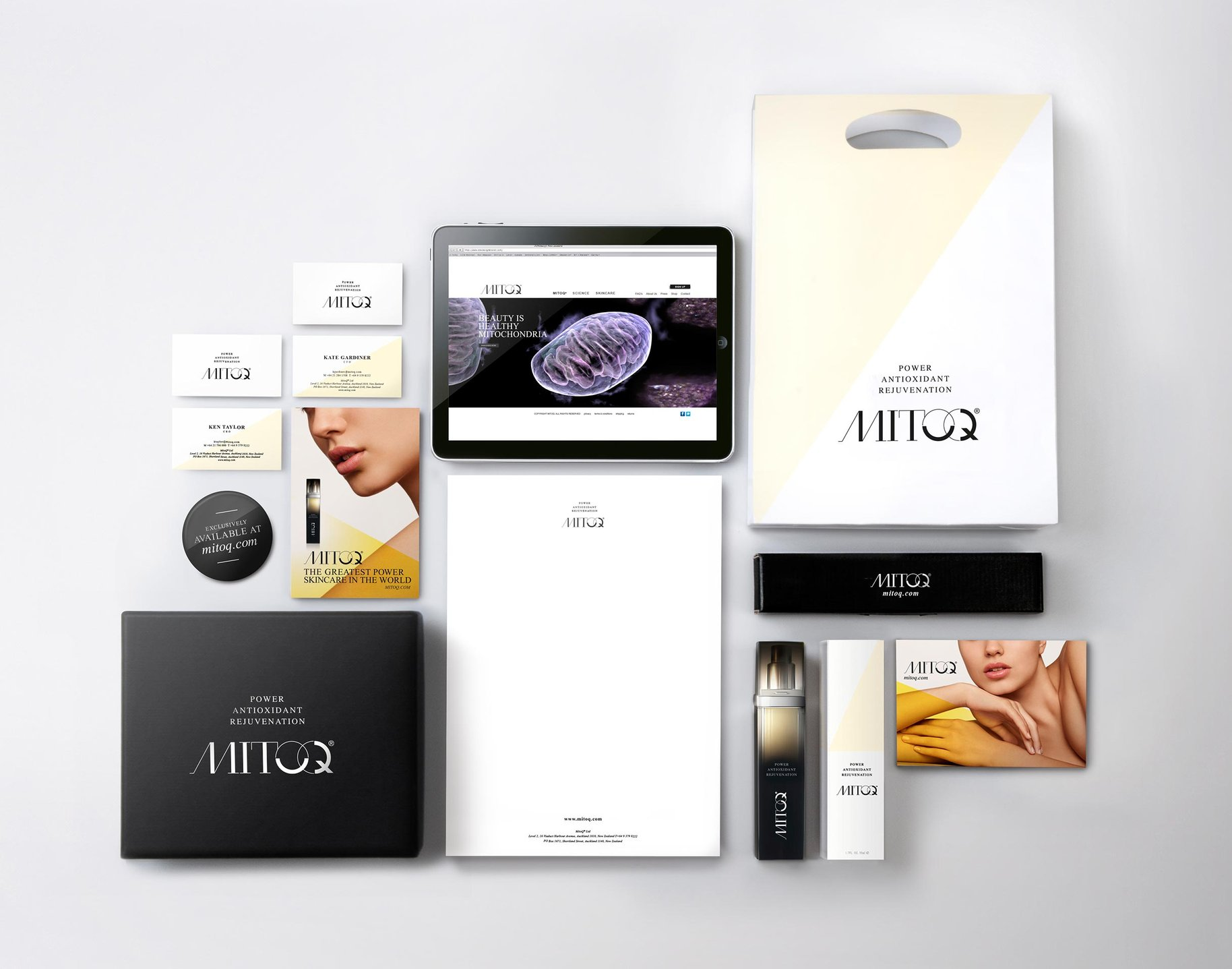 MitoQ brand collateral packaging website brand