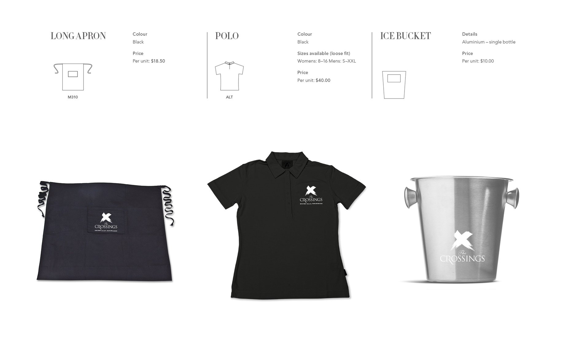 The Crossings uniform and collateral design