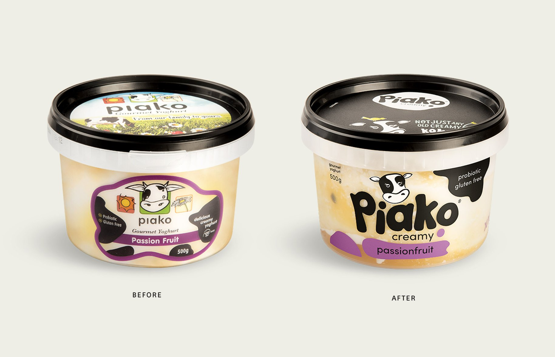 Piako Creamy yoghurt packaging before and after side