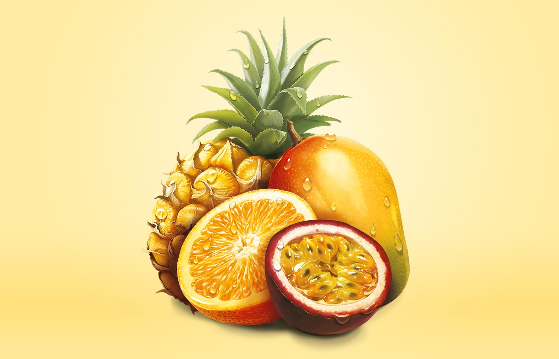 Just Juice topical fruit illustration