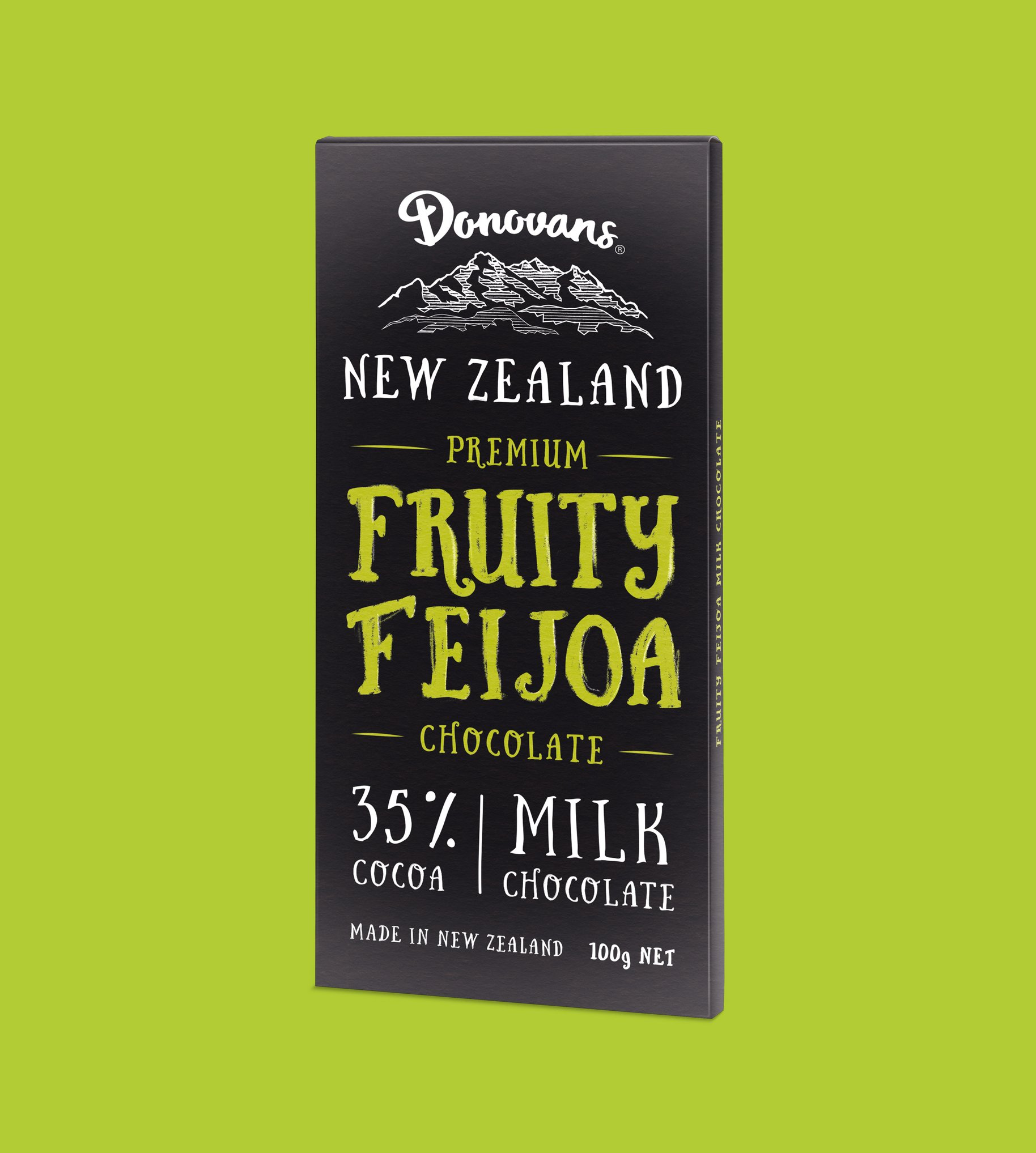 Donovans Chocolate Fruity Fejoia block packaging