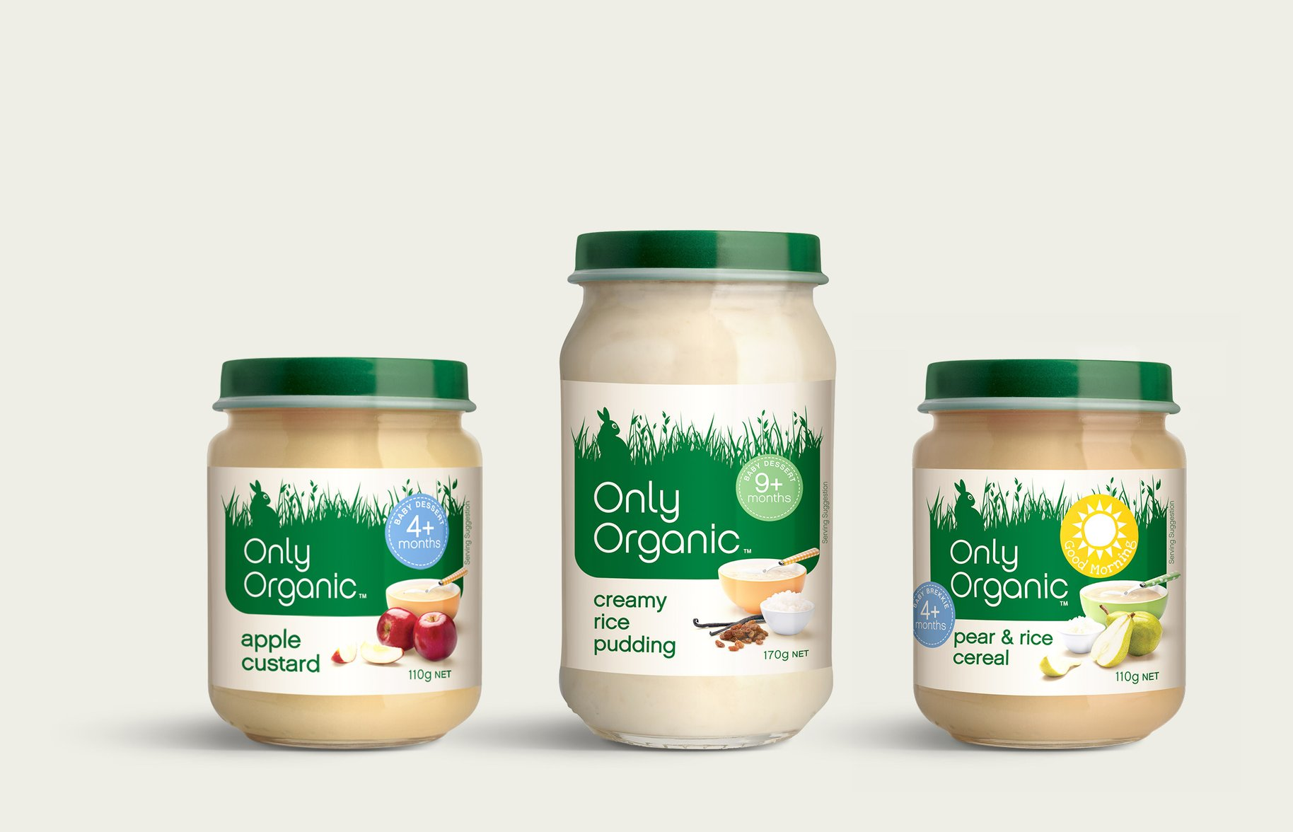 Only Organic baby food jars packaging